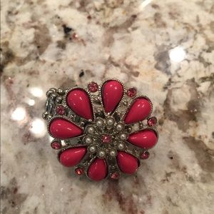 Chico's Jewelry - Pink and Crystal Flower Ring Stretchy